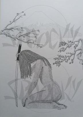 """""""La Samourai du Mont Fuji"""" Dessin en pointillisme dur bristol Canson. Format A3. Prix 120 euros"""