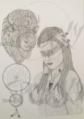 """The Indian and the Buffalo"" Dessin en pointillisme dur bristol Canson. Format A3. Prix 120 euros"